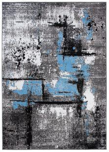 Maya Tappeto Salotto Moderno Blu Bianco Grigio Astratto A Pelo Corto