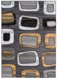 Maya Tappeto Moderno  Grigio Giallo Geometrico Quadrati A Pelo Corto