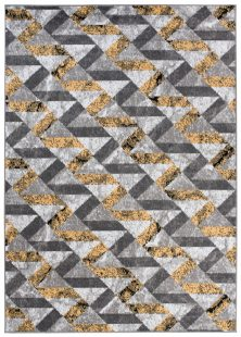 Maya Tappeto Moderno Giallo Grigio Nero Geometrico A Pelo Corto