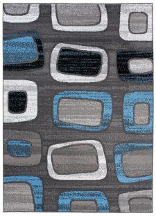 Maya Tappeto Moderno Nero Grigio Blu Geometrico Quadrati A Pelo Corto