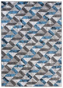 Maya Tappeto Moderno Blu Grigio Nero Astratto Geometrico A Pelo Corto