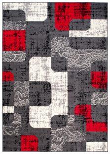 Dream Tappeto Rosso Grigio Astratto Puzzle Geometrico A Pelo Corto