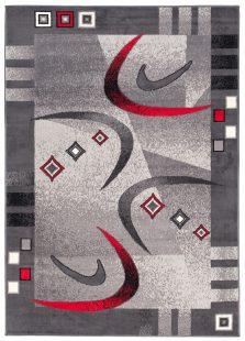 Dream Tappeto Moderno Grigio Rosso Astratto Geometrico A Pelo Corto
