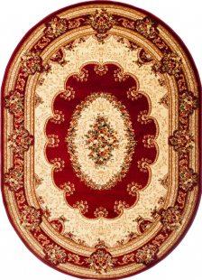 Yesemek Tappeto Ovale Salotto Rosso Crema Tradizionale Fiori