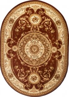 Yesemek Tappeto Ovale Salotto Marrone Beige Ornamentale Fiori
