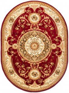 Yesemek Tappeto Ovale Salotto Moderno Crema Rosso Tradizionale Fiori