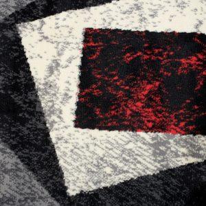 Dream Tappeto Passatoia Nero Rosso Geometrico Astratto A Pelo Corto