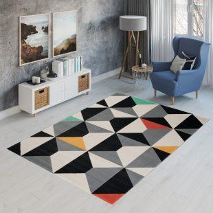 Can Tappeto Geometrico Moderno Scuro Multicolore Nero A Pelo Corto