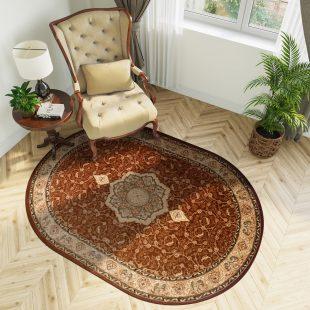 Yesemek Tappeto Ovale Salotto Marrone Tradizionale Ornamentale