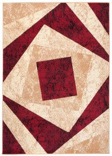 Dream Tappeto  Beige Rosso Geometrico Quadrato A Pelo Corto