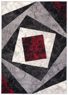 Dream Tappeto Grigio Rosso Geometrico Quadrato A Pelo Corto
