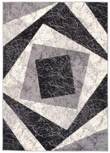 Dream Tappeto Grigio Nero Geometrico Quadrato A Pelo Corto