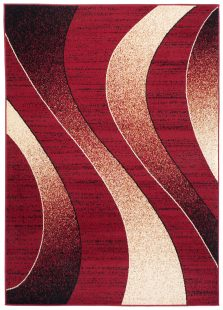 Dream Tappeto Moderno Rosso Crema Astratto Onde A Pelo Corto