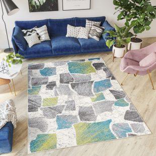 Jawa Tappeto  Moderno Grigio  Blu Verde Multicolore Geometrico
