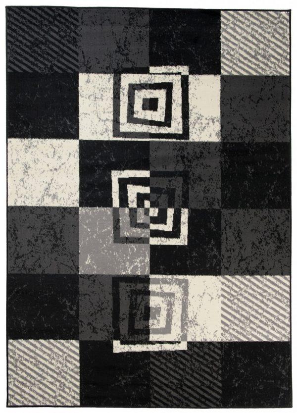Qmega Tappeto Nero Grigio Geometrico Quadrati Pelo Corto