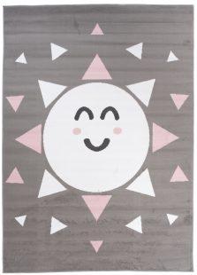 Pinky Tappeto Bambini Grigio White Rosa Sole Colorato