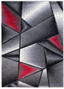 Sumatra Tappeto Geometrico Astratto Antracite Rosso Grigio