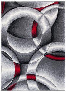 Sumatra Tappeto Geometrico Astratto Grigio Rosso Pelo Corto