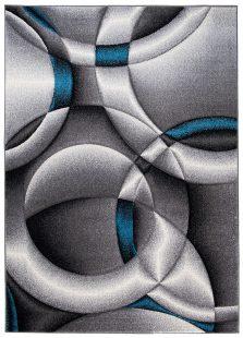 Sumatra Tappeto Geometrico Astratto Grigio Blu Pelo Corto