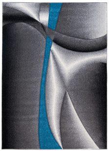 Sumatra Tappeto Moderno Salotto Astratto Onde Antracite Blu