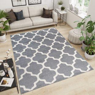 Maroko Tappeto Bianco Grigio Geometrico Mosaico A Pelo Corto
