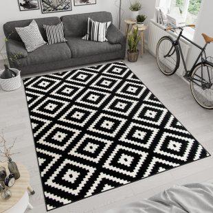 Maroko Tappeto Bianco Nero Geometrico Mosaico Quadri