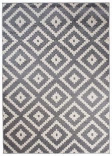 Maroko Tappeto Grigio Crema Geometrico Mosaico Quadri A Pelo Corto