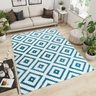Maroko Tappeto Blu Geometrico Mosaico Quadri A Pelo Corto