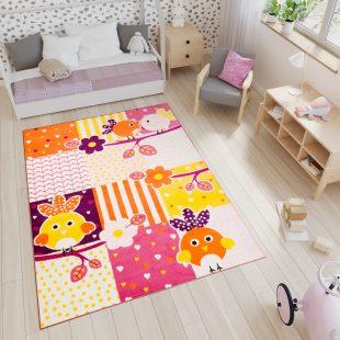 Smile Tappeto Gioco Bambini Arancione Animali Geometrico