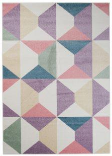 Happy Tappeto Multicolore Viola Geometrico A Pelo Corto
