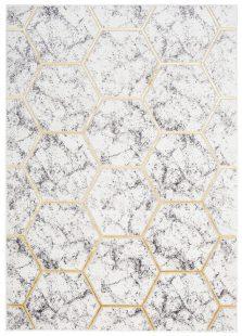 Shine Tappeto Moderno Ivory Grigio Oro Geometrico A Pelo Corto