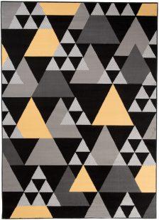 Maya Tappeto Moderno Salotto Nero Giallo Geometrico A Pelo Corto