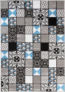 Maya Tappeto Moderno Grigio Blu Orientale A Quadretti A Pelo Corto