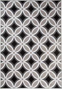 Maya Tappeto Moderno Beige Nero Orientale Geometrico A Pelo Corto