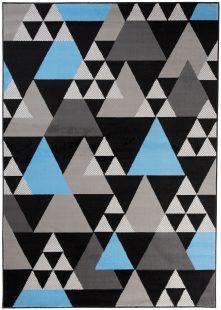 Maya Tappeto Moderno Salotto Nero Blu Geometrico A Pelo Corto