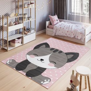 Pinky Tappeto Bambini Grigio Rosa Bianco Gatto Colorato