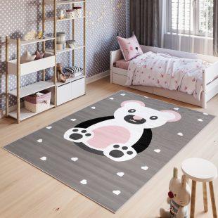 Pinky Tappeto Bambini White Grigio Rosa Orso Colorato