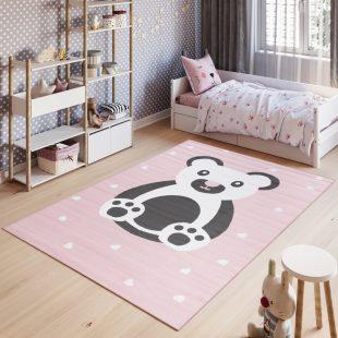 Pinky Tappeto Bambini White Rosa Orso Colorato