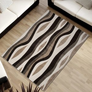 Sumatra Tappeto Onde Ondato Geometrico Moderno Marrone Crema