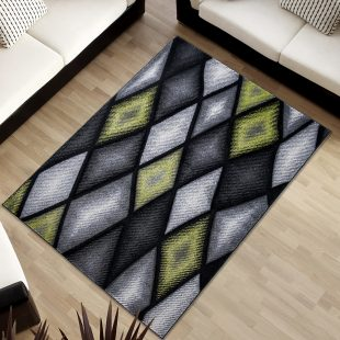 Sumatra Tappeto Moderno Salotto Geometrico Nero Grigio Verde