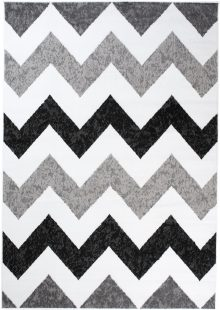 Maya Tappeto Moderno Nero Bianco Geometrico ZigZag A Pelo Corto
