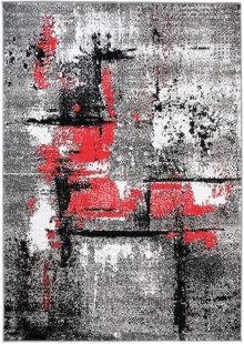 Maya Tappeto Moderno Antracite Rosso Astratto A Pelo Corto