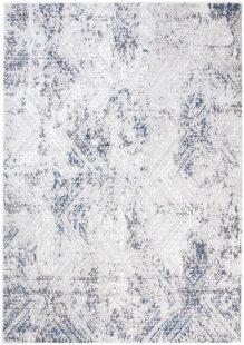 Sky Tappeto Vintage Puntinato Grigio Blu Bianco Usato Look Pelo Corto