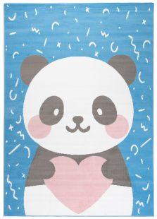 Jolly Tappeto Bambini Cameretta Panda Animale Blu A Pelo Corto