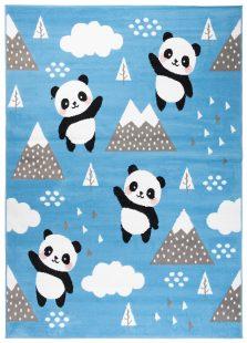 Jolly Tappeto Bambini  Cameretta Animali Panda Blu A Pelo Corto