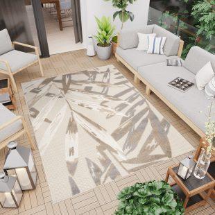 Patio Tappeto Moderno Indoor Outdoor  Foglie Beige A Pelo Corto