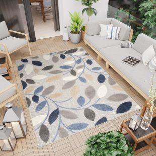 Patio Tappeto Indoor Outdoor Foglie Beige Blu Marrone Pelo Corto