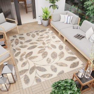 Patio Tappeto Moderno Indoor Outdoor  Foglie Beige Marrone Pelo Corto