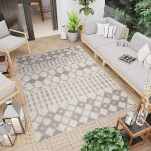 Patio Tappeto Moderno Indoor Outdoor Beige Geometrico A Pelo Corto