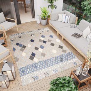 Patio Tappeto Moderno Indoor Outdoor Beige Blu Geometrico A Pelo Corto